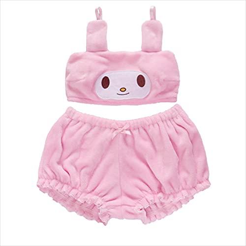 JiYanTang Conjunto de Pijamas Lindos de Anime Kawaii para Mujer, Sujetador de Orejas largas para Perros y Bloomers Melody Kuromi Velvet Set, Disfraz de Cosplay de Anime, Trajes de Dormir para niñas