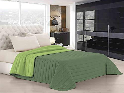 Italian Bed Linen Elegant Trapuntino Estivo, Microfibra, mela/verde scuro, Matrimoniale, 260x270cm