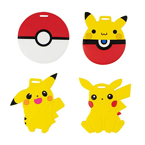 Pikachu Travel Luggage Tag for Bags with Adjustable Strap - Set of 4