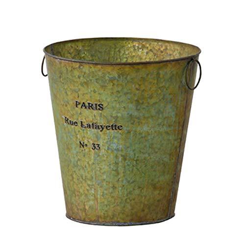 ダストボックス バケツ 鉢カバー グリーン 円形 アンティーク調 スチール bucket garden pot HT004472