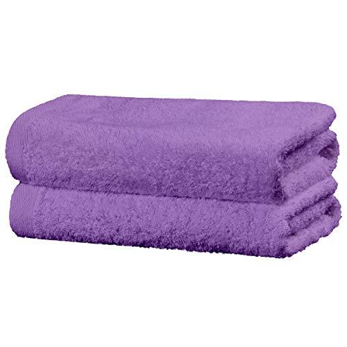 Viste tu hogar Juego de 2 Toallas Hechas 100% de Algodón 500 g/m², 70x140 cm, Suaves y Absorbentes, Ideales para Uso Diario y Decoración, en Color Púrpura.