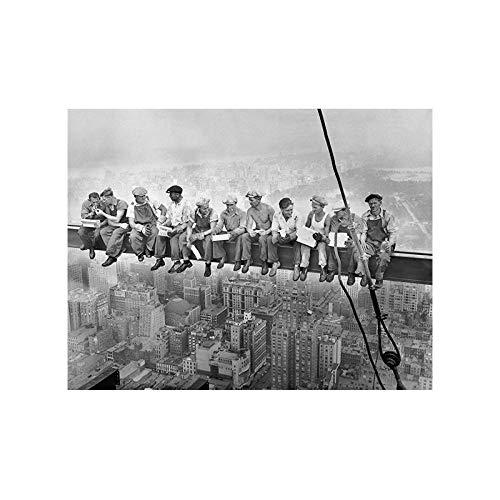 HJKLP Almuerzo en la Cima de un Rascacielos Pintura en Lienzo en Blanco y Negro Arte de Pared Retro Moderno Impresión de póster escandinavo Imagen Decorativa para el hogar 50x70cm Sin Marco
