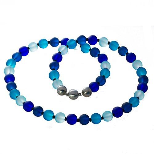 Bella Carina Creativ Glasperlen Kette bunt regenbogen Farben matt (blau)