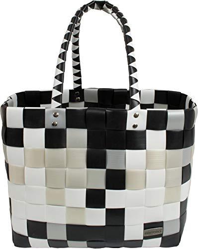 normani Einkaufstasche geflochten mit Henkeln - Tragetasche extra robust Farbe Classic/Stone