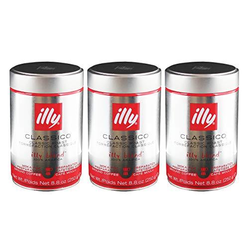Illy Moka, 100 % Arabica Kaffee, Gemahlener Röstkaffee, Espresso, Normale Röstung, Dose, 3 x 250 g
