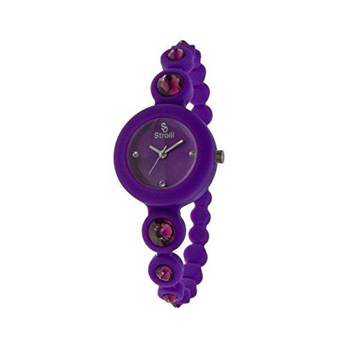 Orologio stroili cinturino silicone viola e swarovski B0582-3