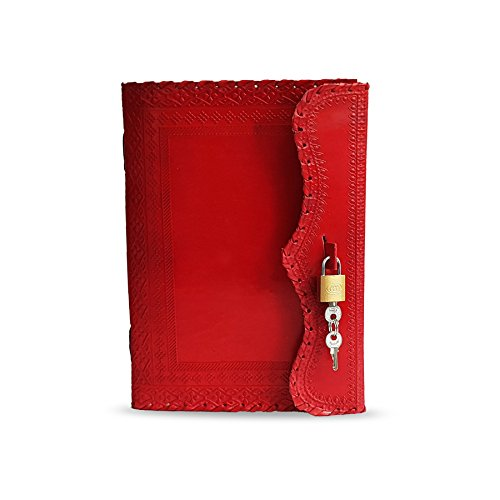 Jaald 25 cm Libreta Notas Cuaderno Hojas Diario Album Hecho a Mano con Cubierta de Cuero y Cerradura Llave Candado - Rojo