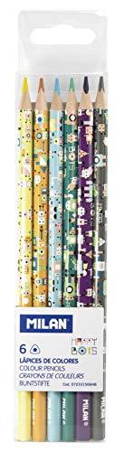 Caja 6 lápices de colores Happy Bots