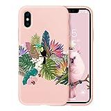 Oihxse Case Compatible coniPhone XR Funda Silicona Matorral TPU Suave Protector Carcasa Ultra Delgada Moda Linda Patrón Anti-Rasguño Caso Bumper Cover(Rosa-Loro)