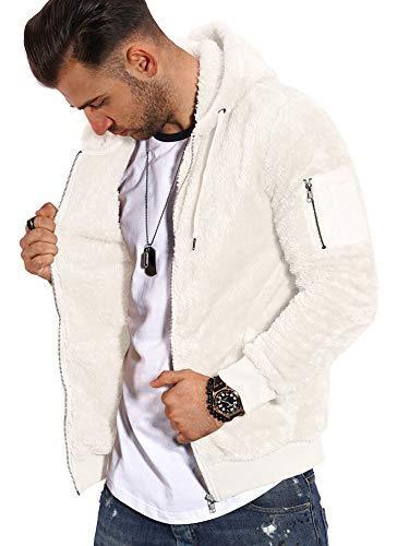 behype. Herren Teddy-Fell Sweat-Jacke Sweatshirt weicher Hoodie mit Kapuze Fleece-Jacke 40-MSPHU (XXL, Weiß)