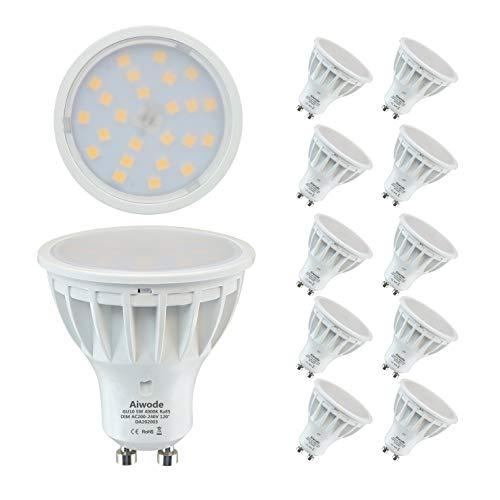 Aiwode 5W Dimmerabile Lampadina GU10 LED Faretti,Bianco Naturale 4000K,Equivalenti 50W,RA85 500LM 120°Angolo del fascio,10 Pezzi.