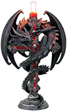 Nemesis Now Anne Stokes Gothic Guardian Dragon Cross Candle Holder 26.5cm, Black