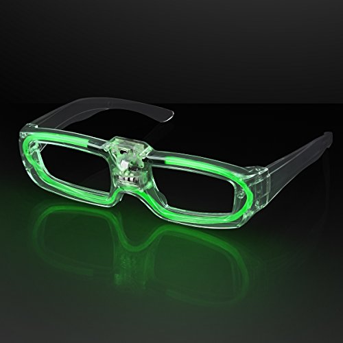 FlashingBlinkyLights Green Sound Activated LED Light Up Party Glasses