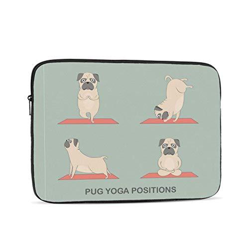 Pug Yoga Funda para portátil, Funda Protectora para maletín, Bolso de Transporte para Netbook Ultrabook para Mujeres y Hombres, 10 Pulgadas