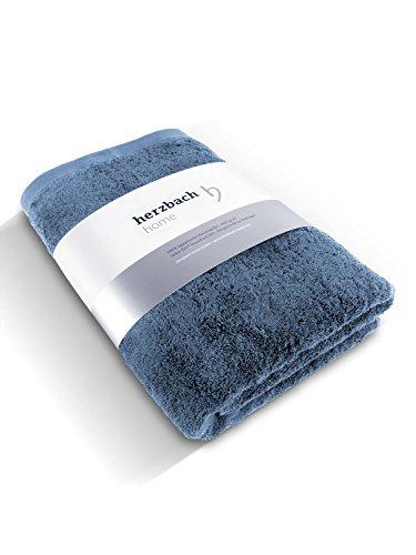 herzbach home Luxus Saunatuch Handtuch Premium Qualität aus 100% ägyptischer Baumwolle 86 x 200 cm 600 g/m² (Graublau)