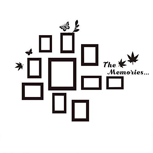 CUNYA - Juego de 10 pegatinas de pared para marcos de fotos familiares con hojas de arce y mariposas para decoración de pared