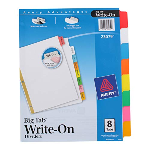 Avery Write-On Erasable Multicolor Index Divider Tabs 6 Sets of 8