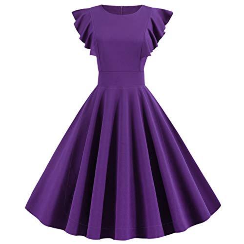 TWIFER Vestidos Mujer Vintage Coctel 50s 60s Retro Rockabilly Clásico Cóctel Fiesta Pin Up Color Sólido Elegante Audrey Dress Púrpura