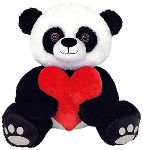 Peek A Boo Toys Prince The Panda with Red Heart Stuffed Animal Plush Toy Gift   Red and Black Soft 15 Prince The Panda with Red Heart
