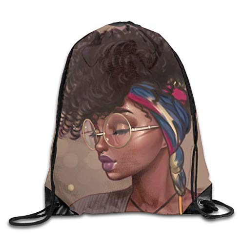 Drempad Sacs à Dos,Sacs de Sport,Magic Afro Hair African Black Girl Art Punk Drawstring Bag Stylish Cute Print Lightweight Sackpack Sport Gym Bundle Backpack Theme Novelty Outdoor Classic