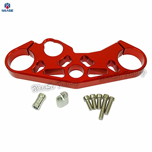 waase 51311-01H00 GSXR600 GSXR750 Motorcycle Front Fork Lowering Triple Tree Upper Top Clamp Yoke For SUZUKI GSXR 600 750 2006 2007 2008 2009 2010 (Red)