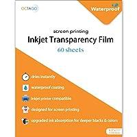 Octago 防水インクジェット透明フィルム スクリーンプリント用 (60枚パック) インクジェットプリンター用透明紙 - シルクスクリーン印刷用カラー透明紙 (8.5x11インチ)