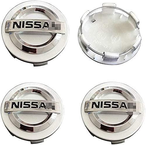 DGDD 4 Pcs Tapas Centrales para Llantas para Nissan Qashqai Tiida Almera Altima Teana X-Trail 60mm, Coche Tapas Centrales Llanta Rueda con Logo Decoración Accesorios
