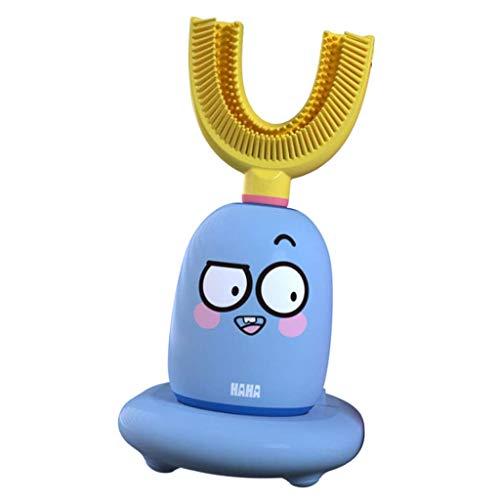 JXM Kinder Elektrische Zahnbürste Sonic Zahnbürste 2 Bürstenmodus Mit U-Förmigen Bürstenköpfen Für Kleinkinder & Kinder Mundhygiene Plaque Entfernen Lieblingskarikaturentwurf,Blau,2~6 Years Old