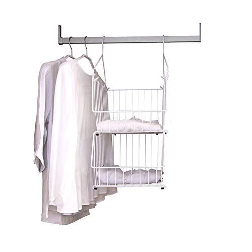 NIUJF Wardrobe Storage Organizer, Kohlenstoffstahl, Lackierte Oberfläche, 2-lagiger Korb, Rutschfester Zaun, Schwerlast, Weiß, Kleidungsorganisator, 27 * 33.5 * 64.1Cm