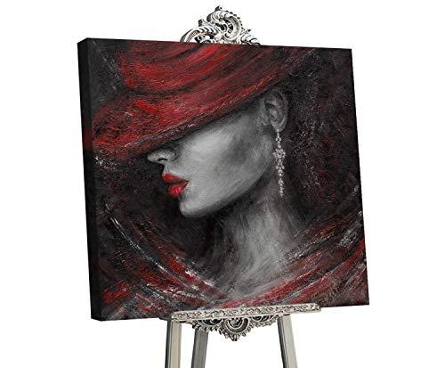 YS-Art Glamur   dipinti a mano Colori Acrilici Bacio sensuale I   quadro dipinto a mano   90x90 cm   pittura   dipinti modern   quadri dipinti a mano   grigio   GLM003