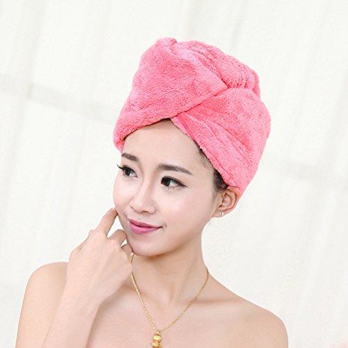 Frcolor Cheveux serviette PAC - 2pcs cheveux séchage serviette PAC séchage rapide Cap de cheveux pour le bain Spa maquillage (Rose rouge et bleu)