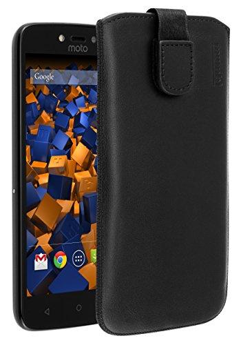 mumbi Echt Ledertasche kompatibel mit Lenovo Moto C Plus Hülle Leder Tasche Hülle Wallet, schwarz