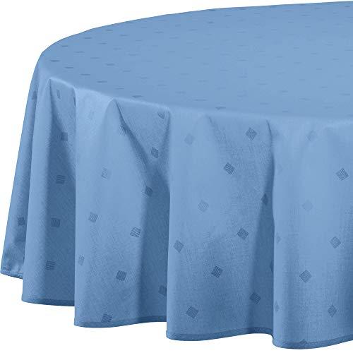 Erwin Müller abwaschbare Tischdecke, Tischwäsche Neuss im Rautendesign, blau Größe rund 160 cm Ø - acrylversiegeltes Gewebe für leichtes Wischen (weitere Farben, Größen)