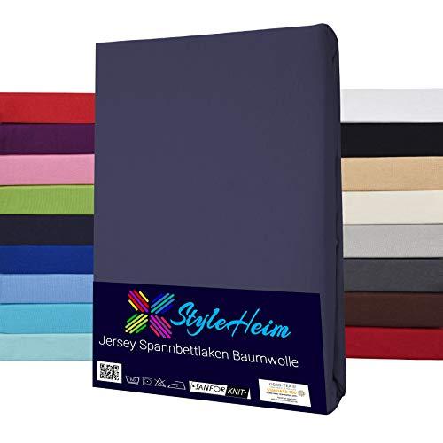 Styleheim Jersey Spannbettlaken 100% Baumwolle Spannbetttuch Öko-Tex bis 25 cm Matratzenhöhe 140 x 200-160 x 200 cm Anthrazit