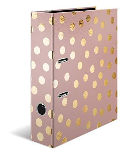HERMA 7057 Motiv-Ordner DIN A4 GLANZvoll Dots, 7 cm breit aus stabilem Karton mit Folienveredelung, Ringordner, Aktenordner, Briefordner, 1 Ordner