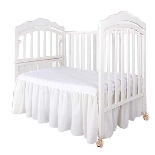 "Crib Dust Ruffle White Crib Bed Skirt with Split Corners -Crib Dust Ruffle for Standrad Crib 14' Drop (28"" x 52"")"