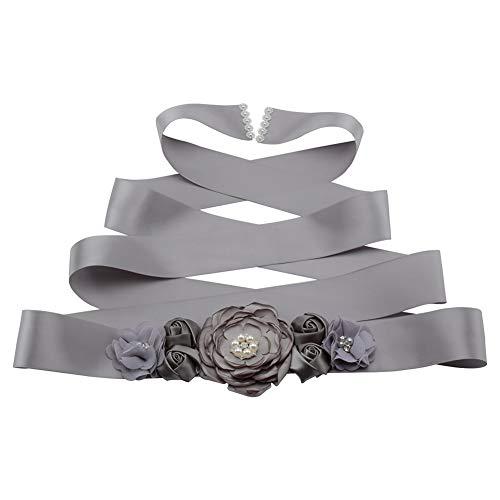 MoreChioce Strass Brautgürtel,Elegant Hochzeit Gürtel Strassband Strassband Satin Schärpe Zubehör mit Blumen und Perlen für Brautjungfernkleider,Grau