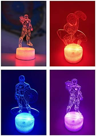 3D Illusion Marvel Heroes Night Light 3 Pattern and 16 Color Change Decor Lamp Marvel Toys and product image