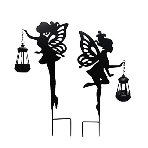 Sanshao LED Solarlampen für Außen Garten, Wasserdicht Solarleuchten für Außen Deko,Gartenstecker Solar Lampen Elfe in Rost-Optik ca. 51 cm hoch Metall Gartendeko für Garten, Büsche, Rasen (A+B)