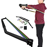Resistance Bar with Handles,10-45 lbs Tricep Bar System Machine for Ab Workout Straps Complete Home Gym Training bar for Full-Body Workout Easy Setup Gym Home Outdoors Resistance Band