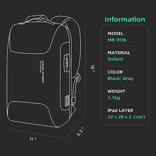 Mark Ryden Laptop Anti-Theft Laptop Rucksack, 15,6 Zoll wasserdichte Laptop Schultasche mit USB Business Travel Wanderrucksack für Jungen/Mädchen/Herren/Damen