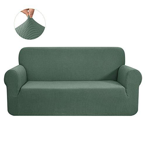CHUN YI jacquard bankhoezen 1-delige bank hoes meubelbeschermer, jasbank met elastische bodem, geruite stretch spandex jacquardstof (4-Zits, Olijfgroen)