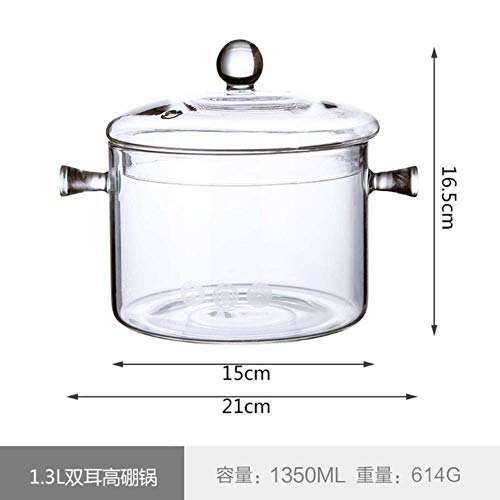 LIUCHANG Haushalt transparente Glasnudel Suppe Topf hochtemperaturbeständigen Topf, 1L liuchang20 (Color : 1.35l)