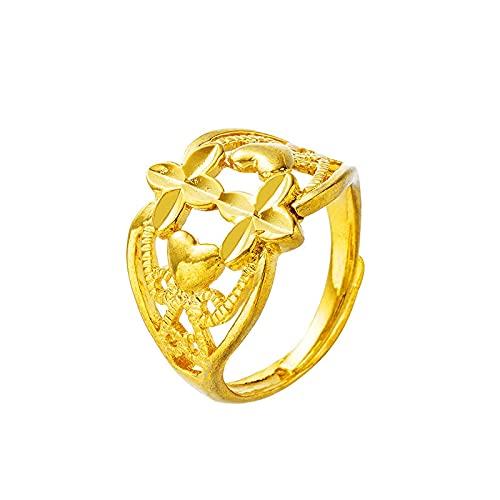 Anillo de oro de Dubai, anillo de compromiso de color dorado de 24 quilates para mujeres, hombres, anillo de dedo para mujeres, novia, niñas, regalos de boda, joyería, anillo de amor ajustable