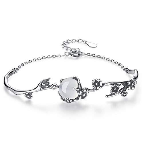 1 stuks armband dames zilver 925 mode retro pruimenbloesem bloemen armband eenvoudige bedelarmbanden edele verjaardagsgeschenk voor vrouwen mama vriendin