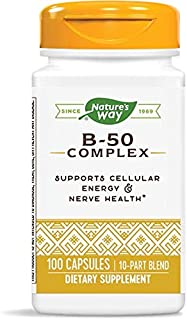 Nature's Way Vitamin B-50 Complex, Gluten Free, Dietary Supplement, 100 Capsules