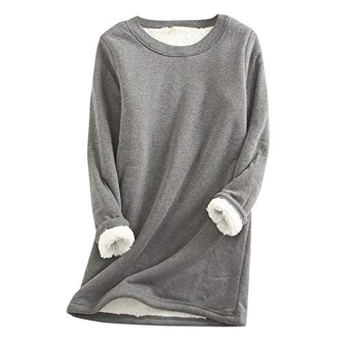 VANMO Ensemble Pyjama Femme, Hiver Top Chaud en Peluche Pantalons Vêtements Portés à la Maison Lingerie Pyjama Casual Plus Velours Épaissir Couleur Unie Grande Taille Top Lâche Oversize S-5XL