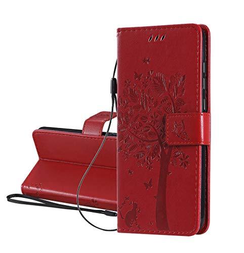 HAOYE Hülle für Samsung Galaxy A31, Retro Geprägt Muster Design Leder Brieftasche Flip Handyhülle, Kartenfach & Magnet Kartenfach Schutzhülle für Samsung Galaxy A31, Rot