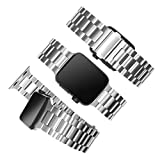 Stainless steel sport band is compatible with the apple Watch series 5/4/3/2/1 Iwatch replacement band for men/women (silver, 42mm-44mm)