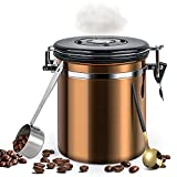 WeChip tarro de café hermético,bote cafe hermetico inoxidable con cuchara,Tarro de Almacenamiento de Granos de café con Válvula de CO2,para café,cereales,polvo,etc.Mantener fresco,marrón-1.5L.